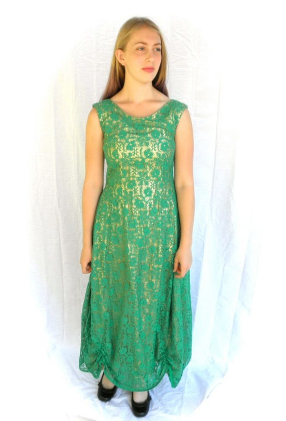 Vintage Green Lace Ball Gown Full Length Formal Southern Belle | Etsy