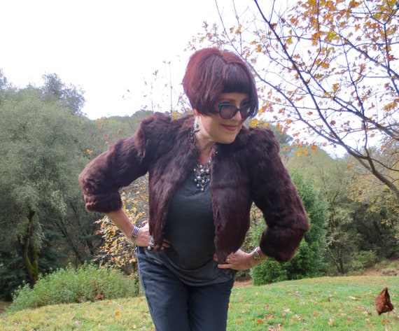 1930s Cropped Brown Fur Jacket | 35 bust | Big Sho