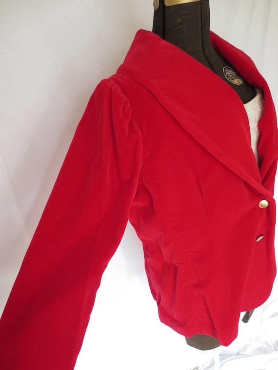 Red Velvet Jacket   1950s Red Velvet Blazer   Roc… - image 4