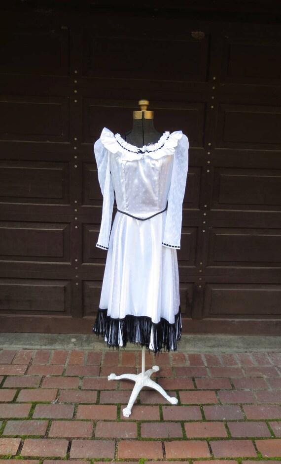 Western White Satin Roses Dress | 1980s Gunne Sax