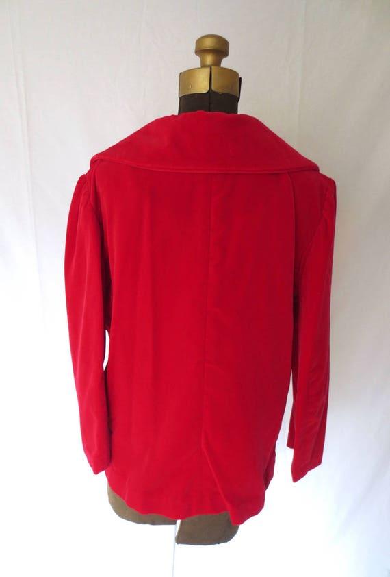 Red Velvet Jacket   1950s Red Velvet Blazer   Roc… - image 6