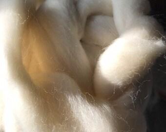Shetland White Wool Roving 1 or 2 oz Spinning Felting Fiber
