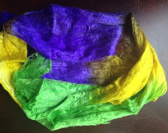 Recycled Silk Dyed Sheets 2oz of dyed silk fibers