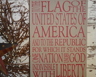 4th Fourth of July Independence Day Pledge of Allegiance Wooden Sign Decoration