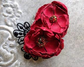 Sevilla Red Flower Comb