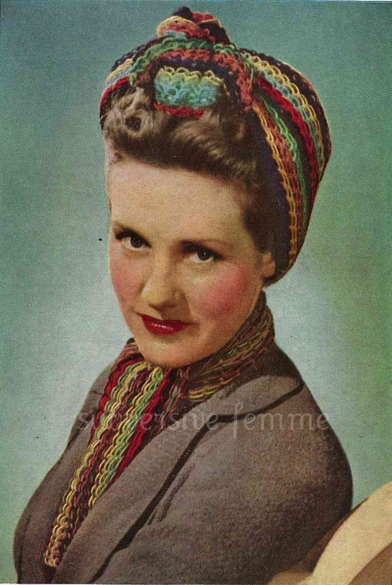 1940s War Era Multi Coloured Traingular Head Scarf And Etsy
