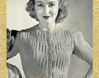 A Sporty Affair, 1940s cropped cardigan knit in bulky yarn - vintage knitting pattern PDF