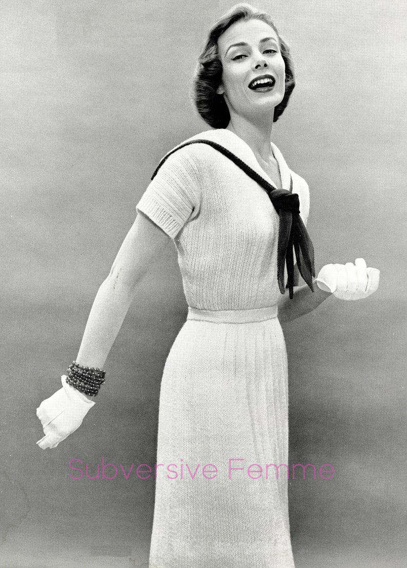 1950s sailor dress quickly knitted with thick yarn, in three sizes -  Vintage Knitting Pattern PDF (531)