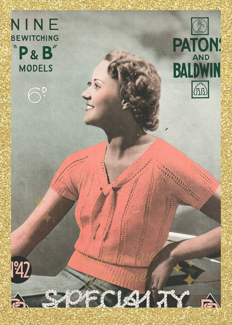 Barbara a 1930s delicate lace jumper  vintage knitting image 0