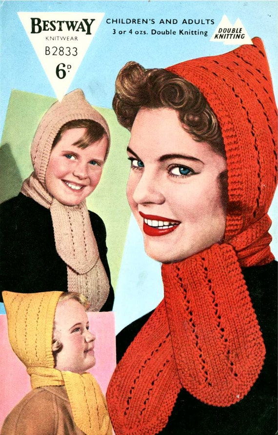 1950s Pixie Hood with Attached Scarf Bestway B2833 vintage  dae721681ff