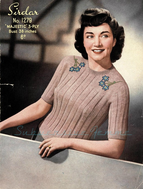 Bluebell 1940s Plus Size Knitted Jumper Vintage Knitting Etsy