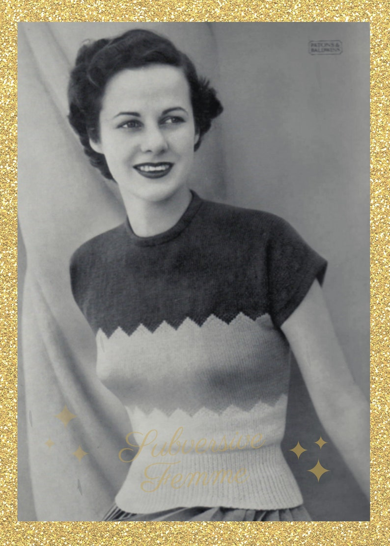 Denise a multi-coloured jumper from Patons c. 1950s  image 0