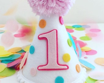 Party Hat Birthday Smash Cake Confetti Girls Rainbow Dog First
