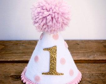Party Hat Birthday Smash Cake Pink Polka Dot Girls Felt Dog First