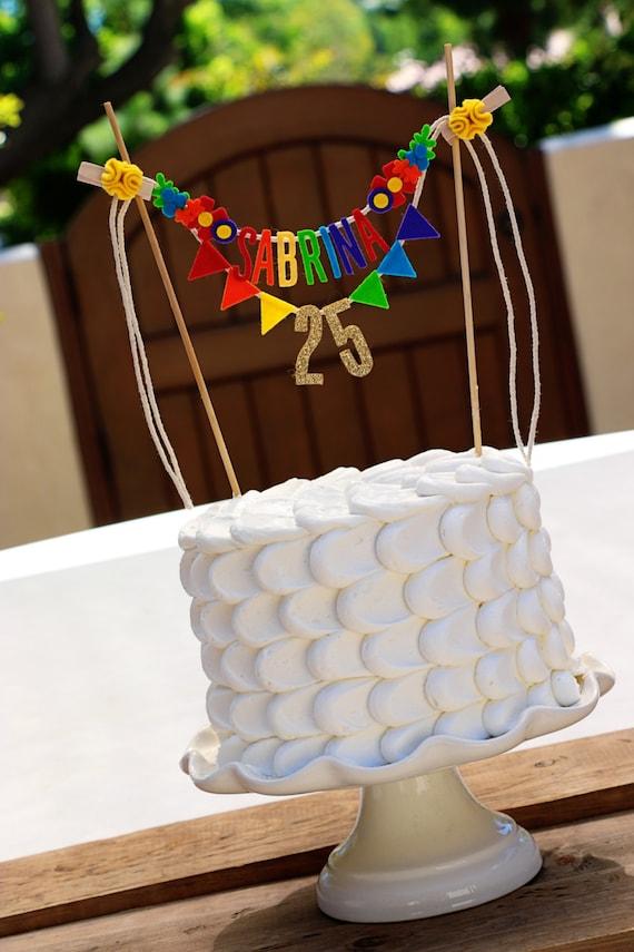 Glitter Gold Birthday Cake Banner