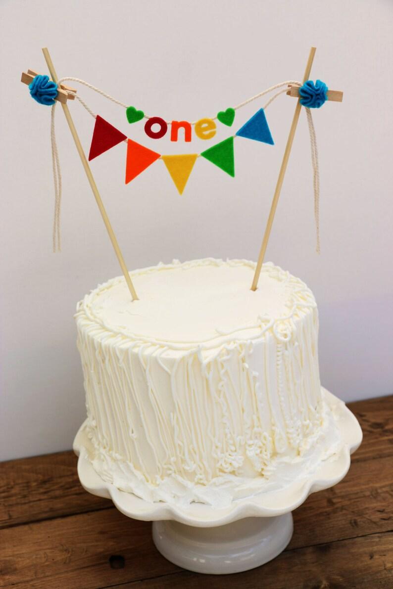 First Birthday Cake Banner Rainbow
