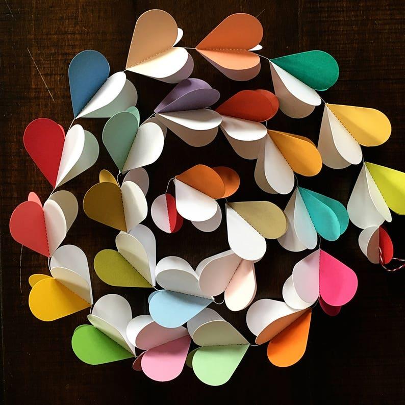 Paper Garland 3d Heart Garland Heart Garland Valentines Etsy