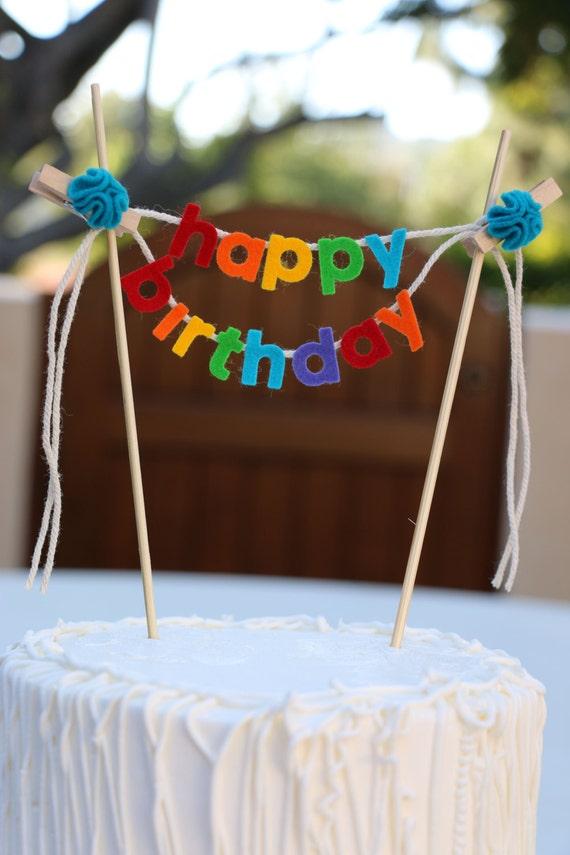Birthday Cake Banner Topper Happy