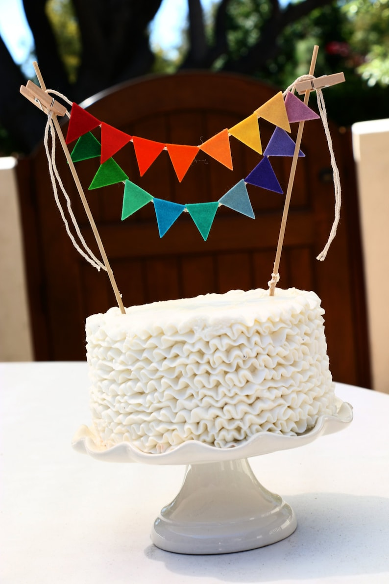 Rainbow Birthday Cake Banner Garland
