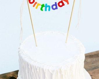 Birthday Cake Banner - Birthday Cake Topper - Happy Birthday Cake Banner - Rainbow Cake Garland:  Rainbow