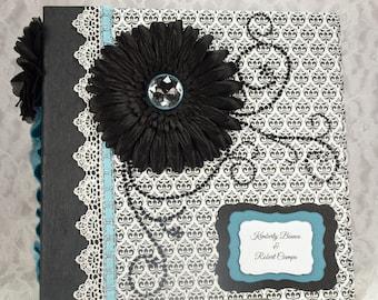 Engagement Photo Album, 8x8 Mini Album, Scrapbook Photo Album, Wedding Guest Book, Black & White Scrapbook, Wedding Gift,
