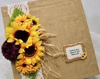 Sunflower Wedding Book, 8x10 Photo Album, Ring Bound Wedding Album, Burlap Guest Book, Custom Colors