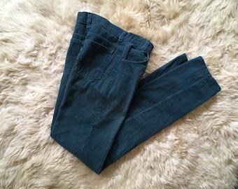 5b45db67 vintage 70s Levi's corduroys - 1970s corduroy pants / vintage Levi's jeans,  blue cords / 70s Levis - teal corduroys, straight slim cut 25 32