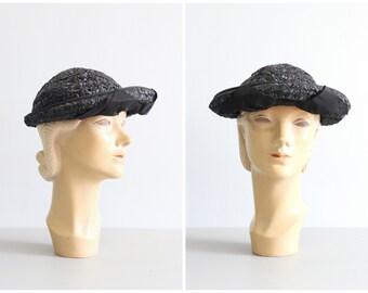 6dc430dc80e7d 50s black woven school girl hat - vintage black straw hat   50s designer hat  - taffeta bow hat   50s straw hat - upturned brim hat