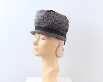 04167127db0 vintage 1960s mod hat - Swinging  60s woven bobby hat   60s bubble hat -  black   white cello straw hat - mushroom cap   Carnaby Street hat