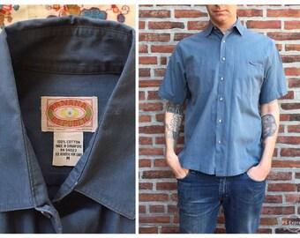 17202e278 vintage 80s Banana Republic shirt - steel blue cotton shirt / short sleeve  cotton shirt, men's vintage button down / '80s banana label shirt