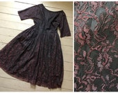 true vintage 1950s black wine lace dress 50s gothic dress with full skirt