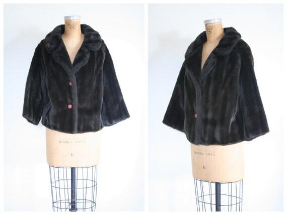 vintage 1950s faux fur coat - '50s faux fur jacket