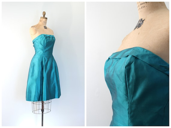 vintage 50s strapless prom dress - 1950s teal sil… - image 4