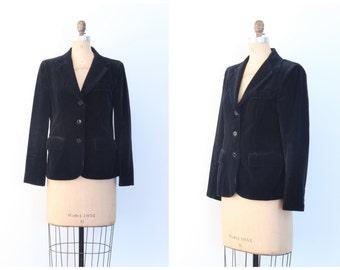 vintage 1970s black velvet blazer - 80s ladies jacket / Chaus blazer - jet black velvet jacket / 70s velvet blazer - velvet jacket