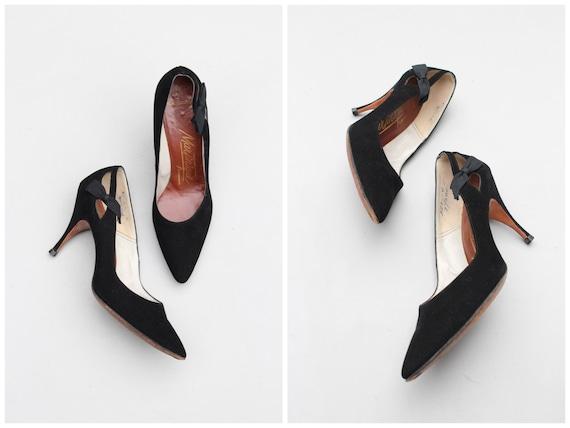 vintage 50s couture heels - black suede high heels