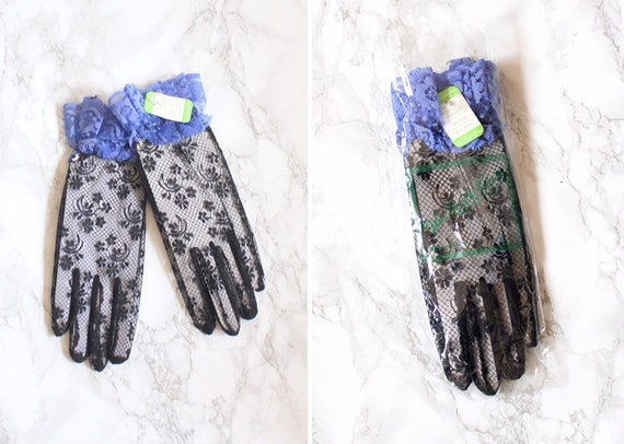 PROM! vintage 80s lace costume gloves - black lace