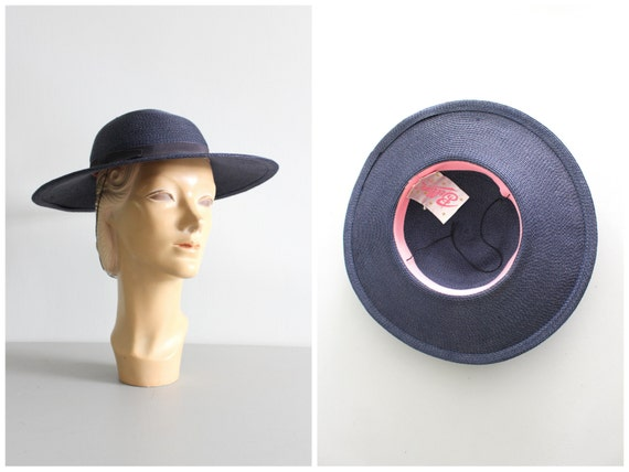 14dcf9ac0b7 vintage 50s navy blue hat woven wide brim hat   1950s summer