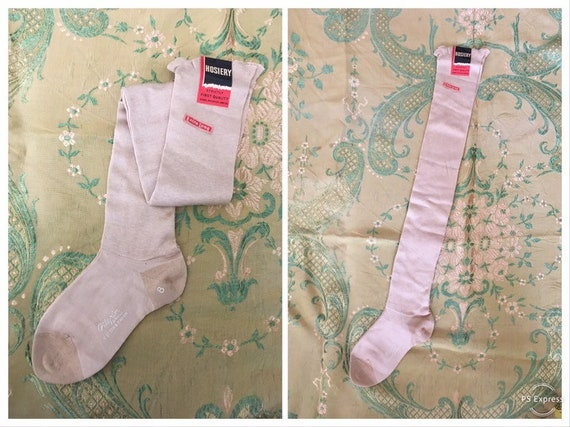 vintage 30s stockings, beige cotton OTK stockings