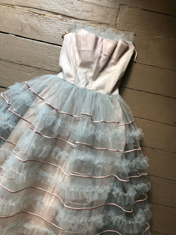 vintage '40s 1950s ice blue tulle gown | straples… - image 2