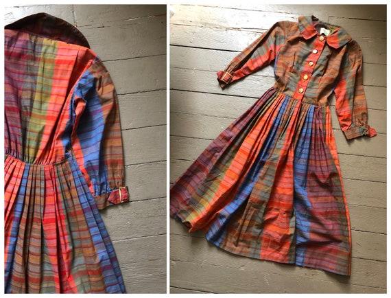 SALE! true vintage 1950s rainbow plaid fit & flare