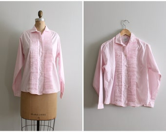 vintage 1950s Lady Towncraft pink pintucked blouse   '60s ladies cotton shirt