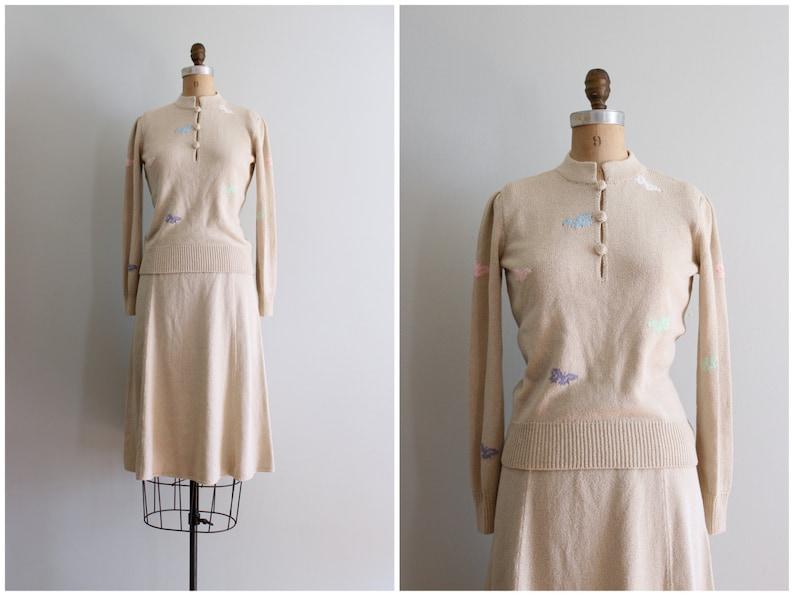 2b46d77cdcb Laura Yang sweater knit skirt set vintage sweater knit dress