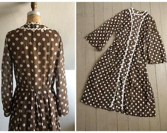 True vintage 1930s polka dot day dress   '30s Halloween costume, Depression era dress, sheer handkerchief cotton with ric rac trim