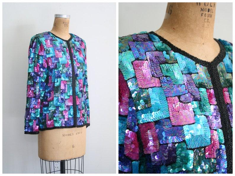 vintage /'80s sequin jacket 90s beaded party jacket 90s sequin top trophy jacket sequined cardigan  90s rainbow sequined jacket
