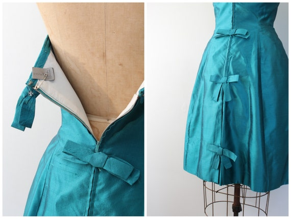 vintage 50s strapless prom dress - 1950s teal sil… - image 3