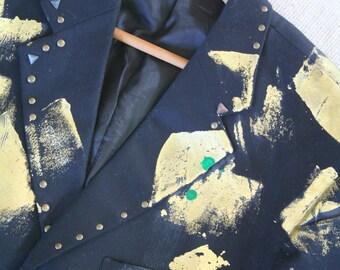 Halloween costume, vintage '80s '90s mens sport coat, gold splatter paint & grommets / 38R