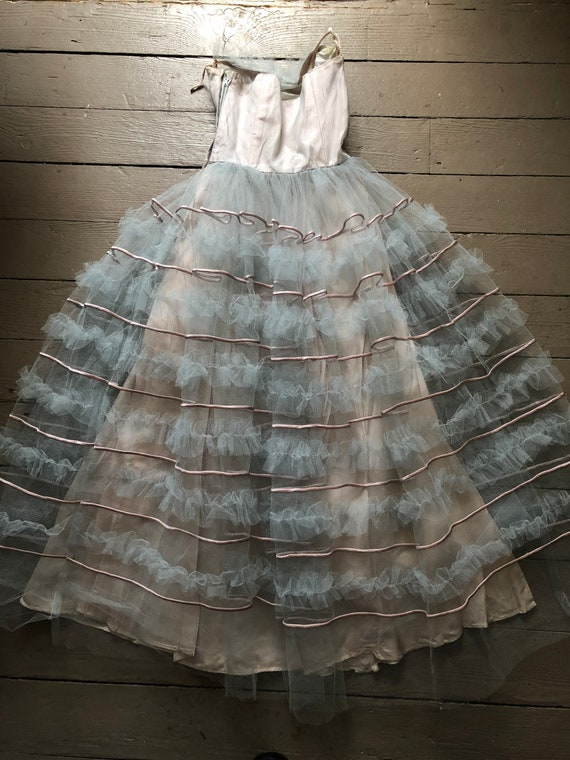 vintage '40s 1950s ice blue tulle gown | straples… - image 5