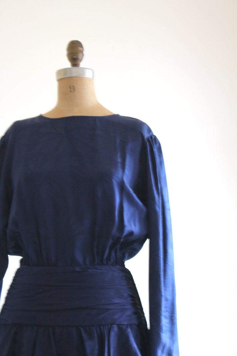 80s silk peplum dress  80s floral jacquard silk dress vintage dress 80s silk dress  navy blue silk dress 80s does 40s peplum dress