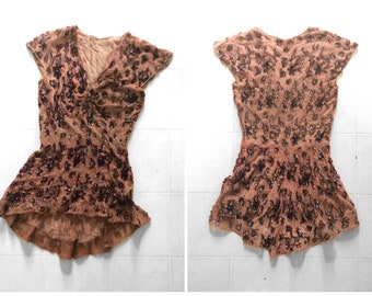 true vintage 1940s mocha lace sequined blouse   '40s peplum top with copper sequins, fits M L