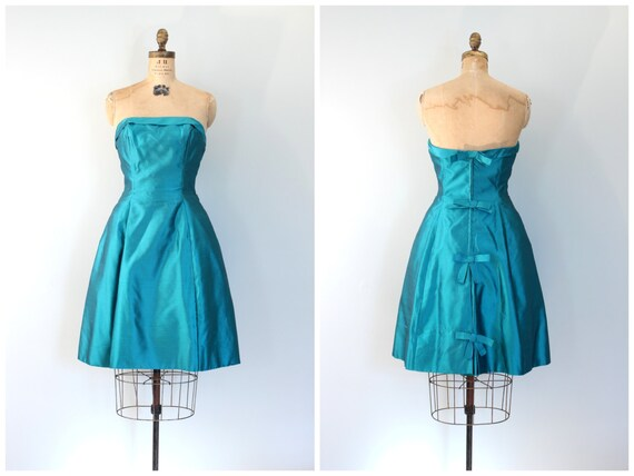 vintage 50s strapless prom dress - 1950s teal sil… - image 1
